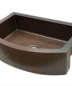 Soluna Copper Farmhouse Sink With Rounded Apron Front 30 Hammered Copper Kitchen Sink Dark Smoke Finish Pure Rounded Copper Style Sink Deluxe Single Bowl Copper Sink With Curved Front Apron 0 0 300x360