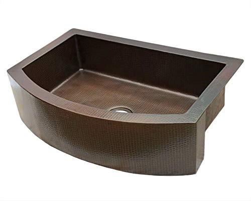 Soluna Copper Farmhouse Sink With Rounded Apron Front 30 Hammered Copper Kitchen Sink Dark Smoke Finish Pure Rounded Copper Style Sink Deluxe Single Bowl Copper Sink With Curved Front Apron 0 0