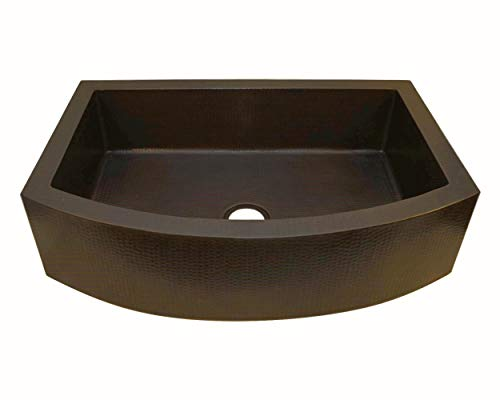 Soluna Copper Farmhouse Sink With Rounded Apron Front 30 Hammered Copper Kitchen Sink Dark Smoke Finish Pure Rounded Copper Style Sink Deluxe Single Bowl Copper Sink With Curved Front Apron 0