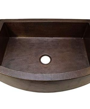 Soluna Copper Farmhouse Sink With Rounded Apron Front 30 Hammered Copper Kitchen Sink In Rio Grande Finish Pure Rounded Copper Style Sink Single Bowl Premium Copper Sink With Curved Apron Front 0 300x360