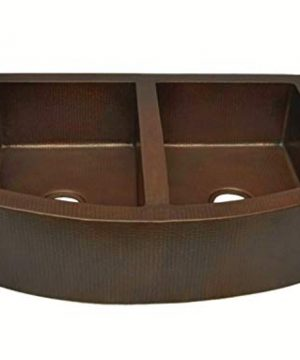 Soluna Exposed Curved Apron Copper Kitchen Sink 33 Dark Smoke Finish 5050 Double Bowl Copper Farmhouse Sink Antique Style Rounded Apron Front Copper Kitchen Sink Luxury Hammered Copper Sink 0 300x360