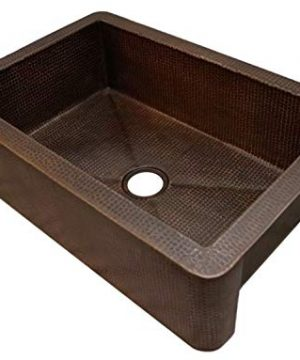 Soluna Fernanda 33 Copper Farmhouse Sink In Rio Grande Finish Single Well Hammered Copper Kitchen Sink With Reinforced Apron Front Handcrafted Premium Copper Kitchen Sink With Flat Apron 0 300x360
