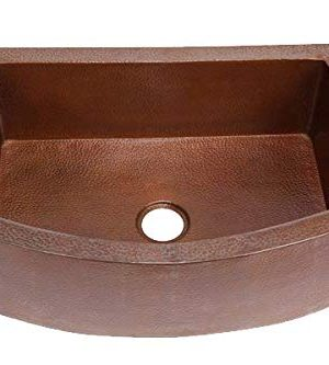 Soluna Large Copper Farmhouse Sink Rounded Apron Flat Ends 36 Wide In Cafe Natural Finish Hand Hammered Single Well Copper Farm Style Sink Lead Free Thick Gauge Copper Sink Open Apron Front 0 0 300x333