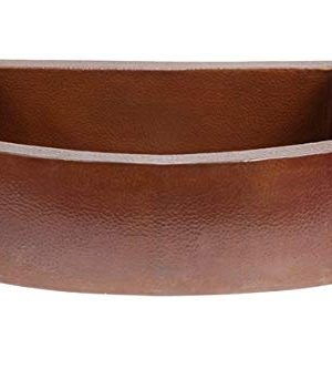 Soluna Large Copper Farmhouse Sink Rounded Apron Flat Ends 36 Wide In Cafe Natural Finish Hand Hammered Single Well Copper Farm Style Sink Lead Free Thick Gauge Copper Sink Open Apron Front 0 300x333