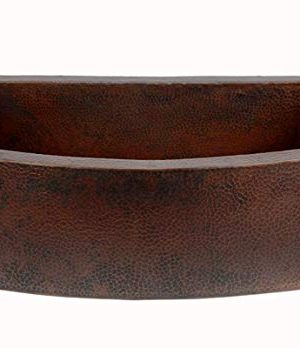 Soluna Premium Copper Farmhouse Sink 33 Rounded Apron With Flat Ends Dark Smoke Finish Hand Hammered Single Bowl Copper Farm House Sink Lead Free Thick Gauge Copper Sink Open Apron Front 0 300x348