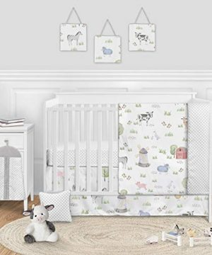 Sweet Jojo Designs Farm Animals Baby Boy Or Girl Nursery Crib Bedding Set 11 Pieces Watercolor Farmhouse Lattice Horse Cow Sheep Pig 0 300x360