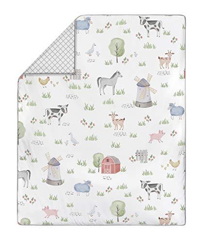Sweet Jojo Designs Farm Animals Baby Boy Or Girl Nursery Crib Bedding Set 4 Pieces Watercolor Farmhouse Lattice Horse Cow Sheep Pig 0 1
