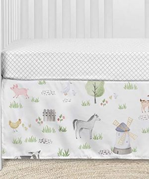 Sweet Jojo Designs Farm Animals Baby Boy Or Girl Nursery Crib Bedding Set 4 Pieces Watercolor Farmhouse Lattice Horse Cow Sheep Pig 0 2 300x360
