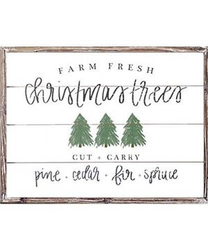 Sweet Water Decor Farm Fresh Christmas Trees Wood Sign 18x24 Rustic Christmas Wall Art With Unique Distressed Wooden Frame Farmhouse Holiday Decoration For Kitchen Office Living Room And Home 0 300x360