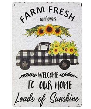 TISOSO Farm Fresh Sunflower To Our Home Retro Truck Vintage Metal Tin Signs Farmhouse Kitchen Wall Decorative Garden Country Home Decor 8X12Inch 0 300x360