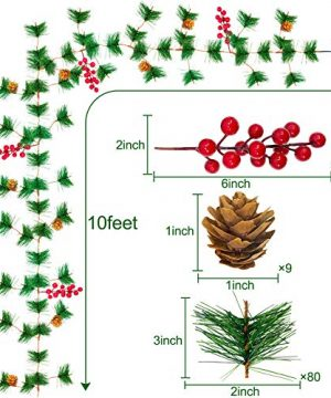 TURNMEON 10FT Christmas Garland With 30 Lights Christmas Pinecone Lights Battery Operated Red Berry Pine Cone Bristle Xmas Decor Color 0 0 300x360