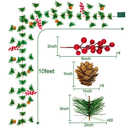 TURNMEON 10FT Christmas Garland With 30 Lights Christmas Pinecone Lights Battery Operated Red Berry Pine Cone Bristle Xmas Decor Color 0 0