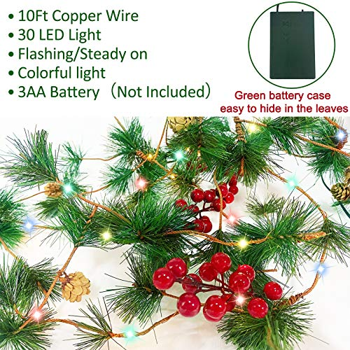 TURNMEON 10FT Christmas Garland With 30 Lights Christmas Pinecone Lights Battery Operated Red Berry Pine Cone Bristle Xmas Decor Color 0 1