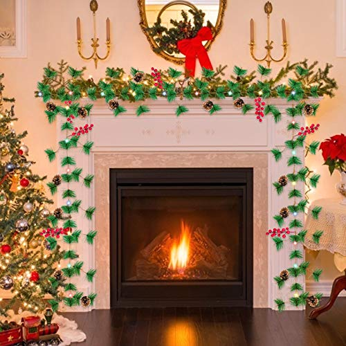 TURNMEON 10FT Christmas Garland With 30 Lights Christmas Pinecone Lights Battery Operated Red Berry Pine Cone Bristle Xmas Decor Color 0 2