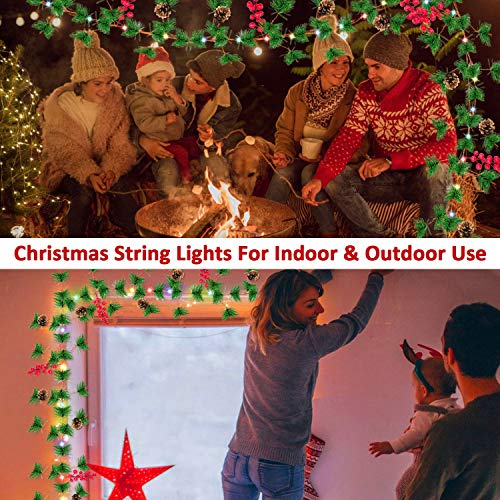 TURNMEON 10FT Christmas Garland With 30 Lights Christmas Pinecone Lights Battery Operated Red Berry Pine Cone Bristle Xmas Decor Color 0 3