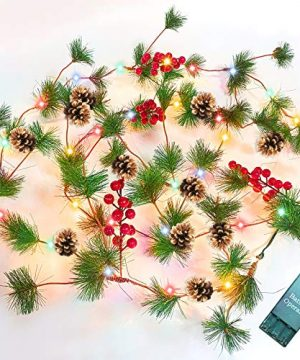 TURNMEON 10FT Christmas Garland With 30 Lights Christmas Pinecone Lights Battery Operated Red Berry Pine Cone Bristle Xmas Decor Color 0 300x360