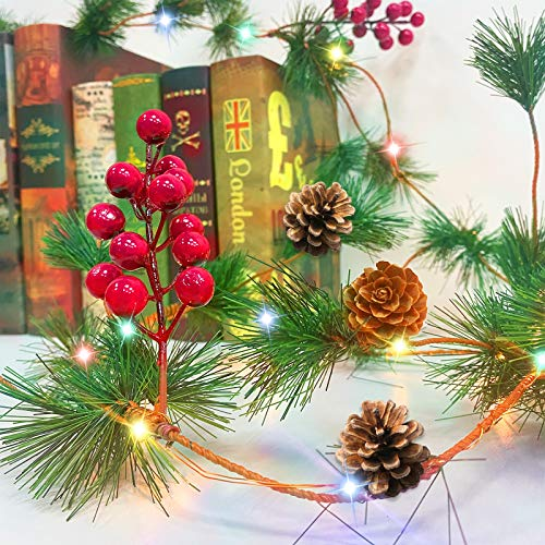 TURNMEON 10FT Christmas Garland With 30 Lights Christmas Pinecone Lights Battery Operated Red Berry Pine Cone Bristle Xmas Decor Color 0 4