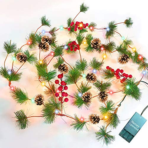 TURNMEON 10FT Christmas Garland With 30 Lights Christmas Pinecone Lights Battery Operated Red Berry Pine Cone Bristle Xmas Decor Color 0