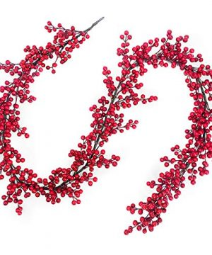 TURNMEON 6 Foot Valentines Red Berry Garland DIY Heart Shape Valentines Decorations 756 Red Berry Thick 108 Branch Wreath Indoor Outdoor Home Mantle Fireplace Holiday Decor 0 300x360