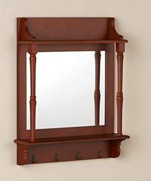 The Lakeside Collection Rustic Farmhouse Coat Rack Mirror With Shelf And Hooks Towel Hook Key Hook Coat Hook Walnut 0 300x360