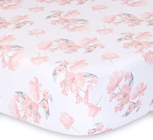 The Peanutshell Brianna Crib Bedding Set For Baby Girls 3 Piece Pink Floral Nursery Set Crib Quilt Crib Sheet Dust Ruffle 0 1