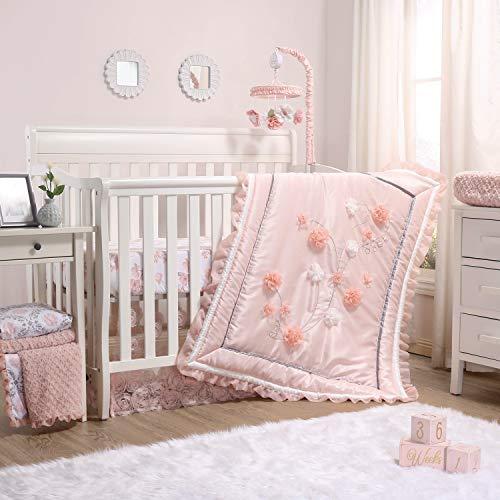 The Peanutshell Brianna Crib Bedding Set For Baby Girls 3 Piece Pink Floral Nursery Set Crib Quilt Crib Sheet Dust Ruffle 0
