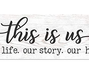 This Is Us Our Life Our Story Our Home White Wood Rustic Style Wall Decor Sign 12x36 0 300x248