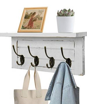 UGIFTT Rustic Coat Rack Wall Mounted With Shelf Farmhouse Entryway Shelf With 4 Vintage Metal Hooks Wall Coat Hooks And Upper Shelf Storage For Entryway Mudroom Bathroom Cloakroom 0 300x360