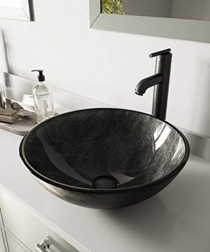 VIGO Gray Onyx Glass Vessel Bathroom Sink And Seville Vessel Faucet With Pop Up Matte Black 0 300x360