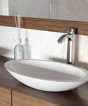 VIGO VG04011 23125 L 135 W 3875 H Wisteria Handmade Countertop Matte Stone Oval Vessel Bathroom Sink In Matte White Finish 0 300x360