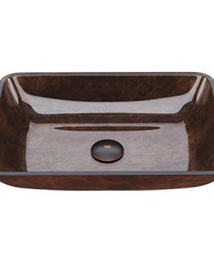 VIGO VG07089 18125 L 130 W 4125 H Russet Handmade Countertop Glass Rectangular Vessel Bathroom Sink In Red And Brown Fusion Finish 0 300x360