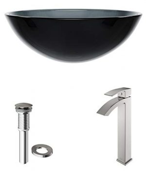 VIGO VGT1035 165 L 165 W 120 H Handmade Countertop Glass Round Vessel Bathroom Sink Set In Sheer Black Finish With Brushed Nickel Single Handle Single Hole Faucet And Pop Up Drain 0 2 300x360