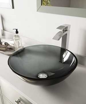 VIGO VGT1035 165 L 165 W 120 H Handmade Countertop Glass Round Vessel Bathroom Sink Set In Sheer Black Finish With Brushed Nickel Single Handle Single Hole Faucet And Pop Up Drain 0 300x360