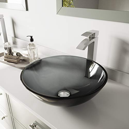 VIGO VGT1035 165 L 165 W 120 H Handmade Countertop Glass Round Vessel Bathroom Sink Set In Sheer Black Finish With Brushed Nickel Single Handle Single Hole Faucet And Pop Up Drain 0