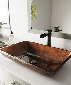 VIGO VGT1055 225 L 145 W 105 H Handmade Glass Rectangle Vessel Bathroom Sink Set In Rich Chocolate Brown Finish With Antique Rubbed Bronze Single Handle Single Hole Faucet And Pop Up Drain 0 300x360