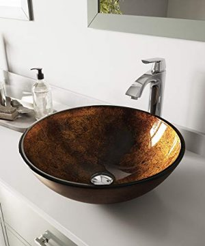 VIGO VGT110 165 L 165 W 1238 H Handmade Countertop Glass Round Vessel Bathroom Sink Set In Gold And Brown Fusion Finish With Chrome Single Handle Single Hole Faucet And Pop Up Drain 0 300x360