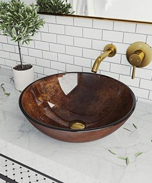 VIGO VGT1478 165 L 165 W 438 H Handmade Countertop Glass Round Vessel Bathroom Sink Set In Gold And Brown Fusion Finish With Wall Mount Faucet In Matte Brushed Gold And Pop Up Drain 0 300x360