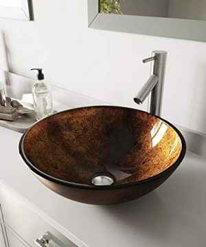 VIGO VGT500 165 L 165 W 1275 H Handmade Countertop Glass Round Vessel Bathroom Sink Set In Gold And Brown Fusion Finish With Brushed Nickel Single Handle Single Hole Faucet And Pop Up Drain 0 300x360