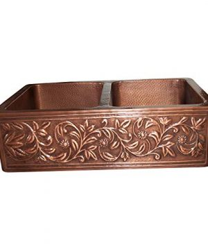 Vine Design Copper Undermount Kitchen Sink Double Bowl 16 Gauge Front Apron Antique Finish Basin Perfect For Home Hotel Farmhouse Eye Catching Accessory Dimensions 33 X 22 X 9 0 0 300x360