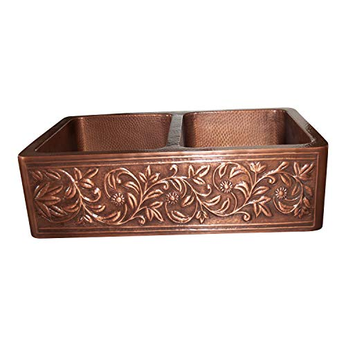 Vine Design Copper Undermount Kitchen Sink Double Bowl 16 Gauge Front Apron Antique Finish Basin Perfect For Home Hotel Farmhouse Eye Catching Accessory Dimensions 33 X 22 X 9 0 0