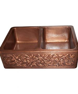 Vine Design Copper Undermount Kitchen Sink Double Bowl 16 Gauge Front Apron Antique Finish Basin Perfect For Home Hotel Farmhouse Eye Catching Accessory Dimensions 33 X 22 X 9 0 1 300x360
