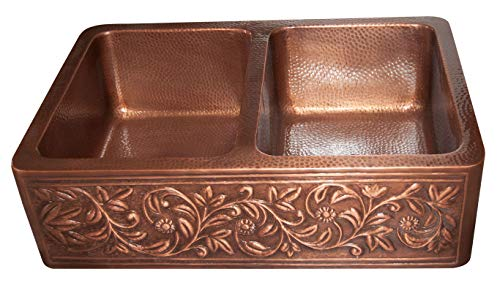 Vine Design Copper Undermount Kitchen Sink Double Bowl 16 Gauge Front Apron Antique Finish Basin Perfect For Home Hotel Farmhouse Eye Catching Accessory Dimensions 33 X 22 X 9 0 2