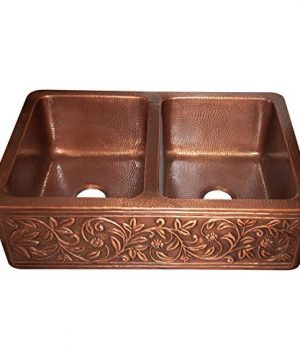 Vine Design Copper Undermount Kitchen Sink Double Bowl 16 Gauge Front Apron Antique Finish Basin Perfect For Home Hotel Farmhouse Eye Catching Accessory Dimensions 33 X 22 X 9 0 3 300x360