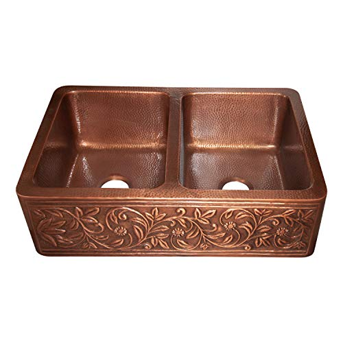 Vine Design Copper Undermount Kitchen Sink Double Bowl 16 Gauge Front Apron Antique Finish Basin Perfect For Home Hotel Farmhouse Eye Catching Accessory Dimensions 33 X 22 X 9 0 3