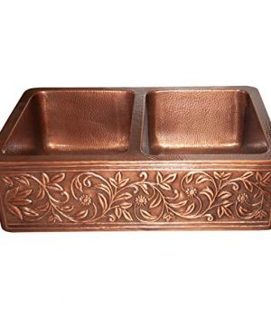 Vine Design Copper Undermount Kitchen Sink Double Bowl 16 Gauge Front Apron Antique Finish Basin Perfect For Home Hotel Farmhouse Eye Catching Accessory Dimensions 33 X 22 X 9 0 300x360