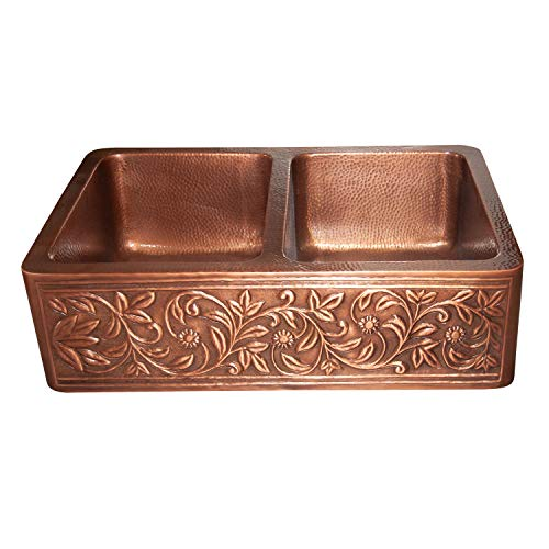 Vine Design Copper Undermount Kitchen Sink Double Bowl 16 Gauge Front Apron Antique Finish Basin Perfect For Home Hotel Farmhouse Eye Catching Accessory Dimensions 33 X 22 X 9 0