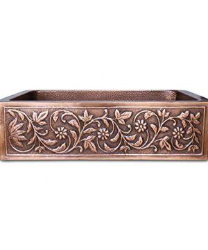 Vine Design Copper Undermount Kitchen Sink Single Bowl 16 Gauge Basin Perfect For Home Hotel Farmhouse Dimensions 33 X 22 X 9 0 300x360