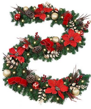 WBHome Pre Lit 9 Feet106 Inch Christmas Garland Red Themed With 50 LED Lights Holiday Decorations 200 Branch Tips Battery Operated Batteries NOT Included 0 300x360