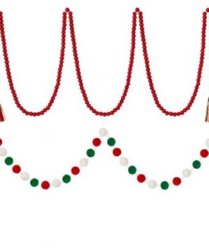 WILLBOND Christmas Wooden Beads Garland Red Rustic Wooden Beads Garland With Buffalo Plaid Tassels And Christmas Felt Balls Garland Christmas Pom Pom Garland For Farmhouse Wall Decor Home Ornaments 0 300x360