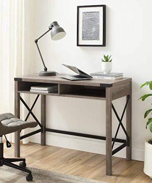 Walker Edison Callum Modern Farmhouse Metal X Writing Desk 42 Inch Grey Wash 0 300x360